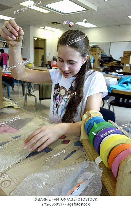 6th Grade Girl Working on Art Project, Wellsville, New York, USA