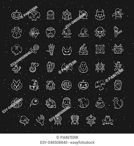 Thin line white Halloween icons set. Vector collection