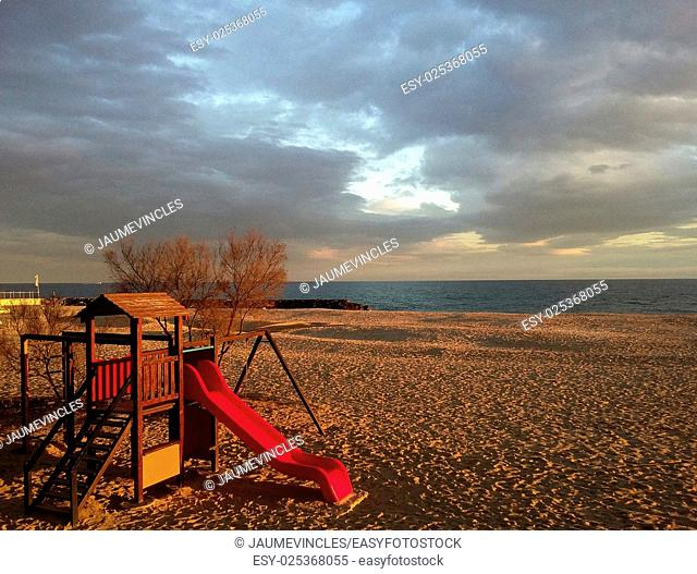 Playground on the Beach, Caldes d'Estrac, Maresme, Barcelona province, Catalonia, Spain