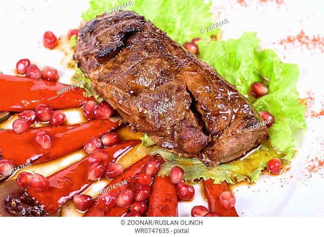 beef steak with pomegranate