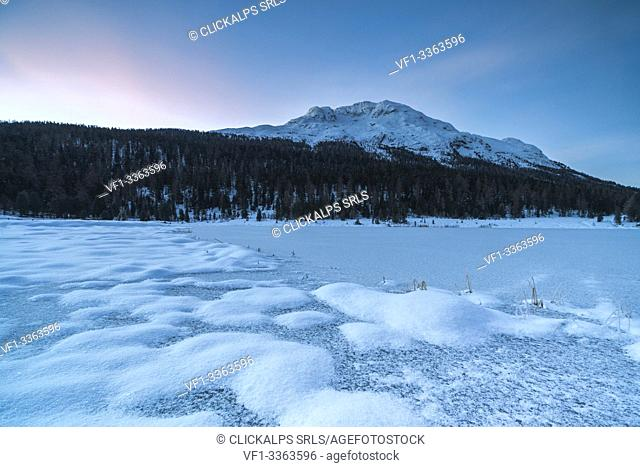 Frozen lake Lej da Staz, St Moritz, canton of Graubunden, Engadin, Switzerland