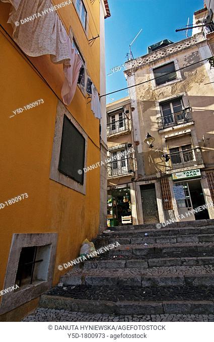 street scene in Alfama, famous old part of Lisbon, Portugal, Europe