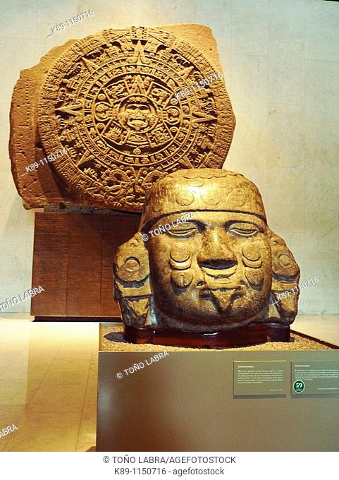 Calendario azteca o Piedra del Sol. Museo Nacional de Antropologia. Ciudad de Mexico