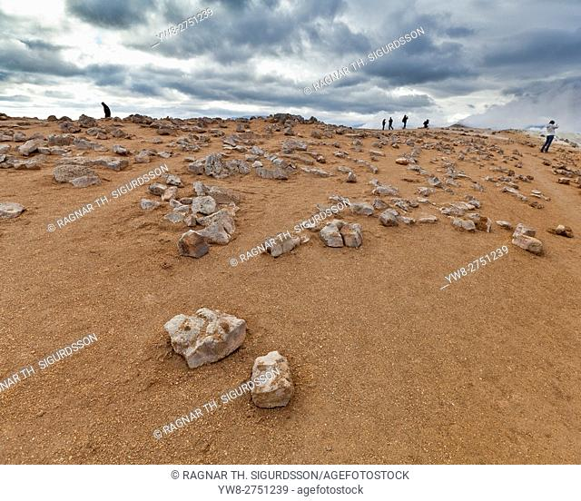 Rocks and steaming fumaroles, Namaskard- Geothermal Volcanic area, Northern Iceland