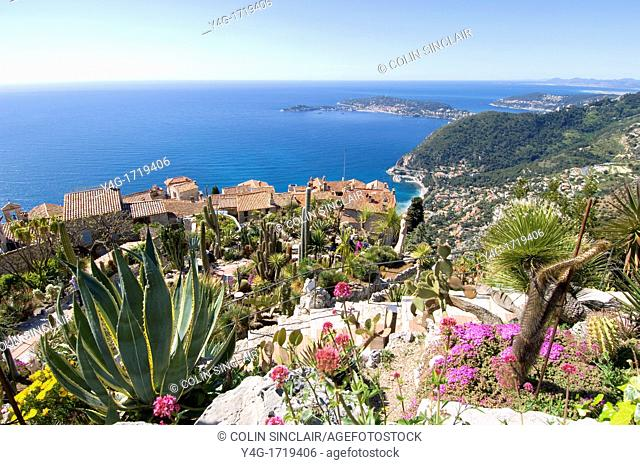 South of France, Exotic Garden, Eze Village, View over Mediterrannean and Cap Ferrat, Plants Cacti and rooftops of Eze Village