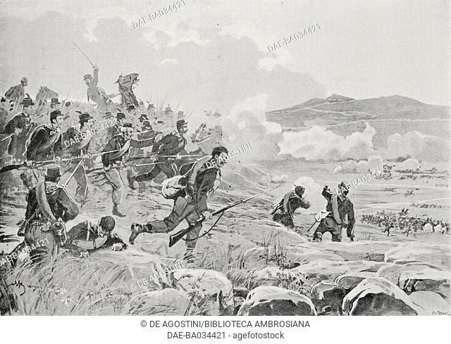 Garibaldi's volunteers from the Mereu column at the Battle of Domokos, May 17, 1897, Greco-Turkish War, drawing by Achille Beltrame (1871-1945)