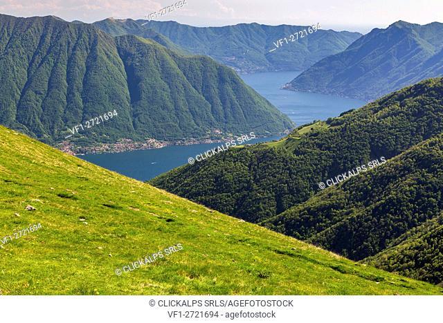 View of Como Lake brach from Rifugio Venini, Monte Galbiga, Lombardy, Italy