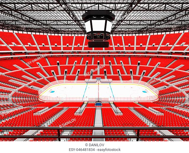 3D render of beautiful sports arena for ice hockey with red seats and VIP boxes for fifty thousand people