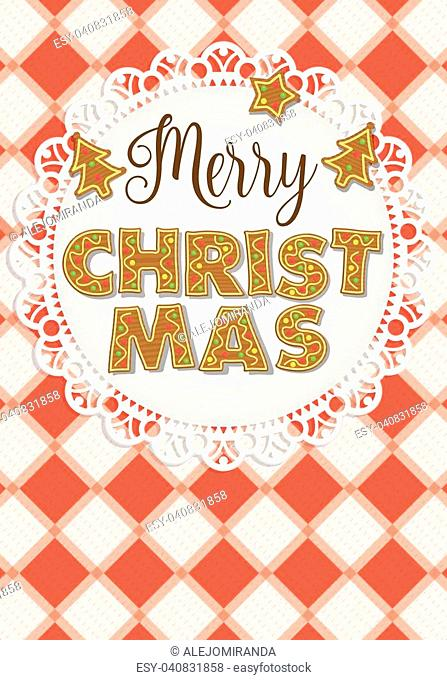 Merry Christmas lettering formed by gingerbread cookies on a white plate garnished with tree-shaped cookies on a red and white checkered tablecloth background