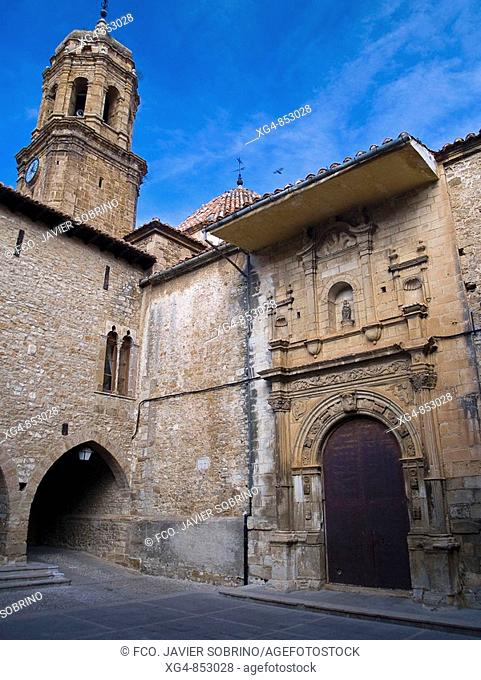 Town Hall and Church of the Purification on Main Square, La Iglesuela del Cid. Maestrazgo, Teruel province, Aragon, Spain