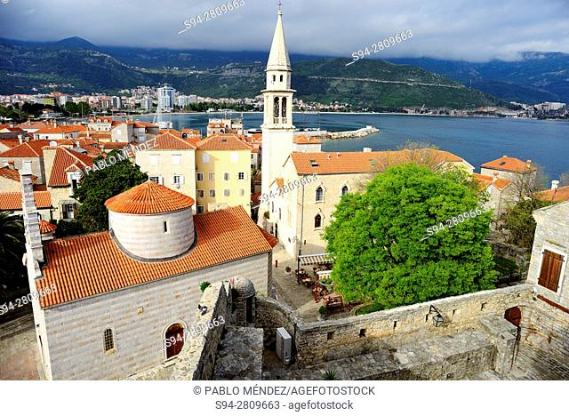 View of Budva old town from citadel, Montenegro