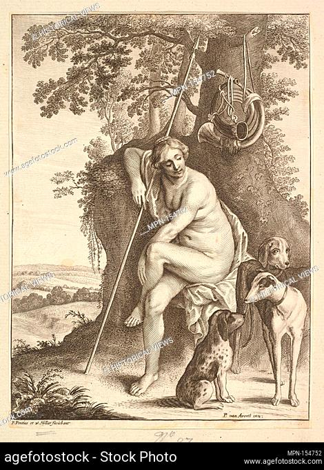 Seated figure of Diana the huntress. Etcher: Wenceslaus Hollar (Bohemian, Prague 1607-1677 London); Etcher: Paulus Pontius (Flemish