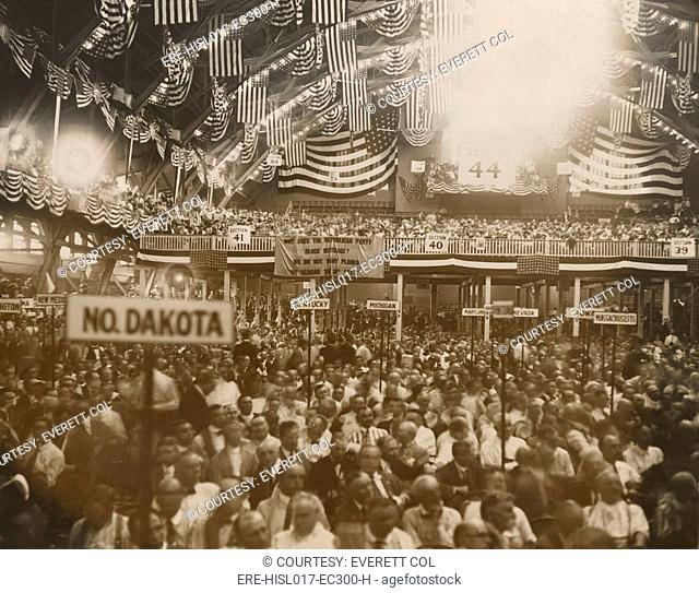 Republican Convention in Chicago, June 1920. In the background, a National Women's Party banner reads, 'Why does the Republican Party Block suffrage' Within two...