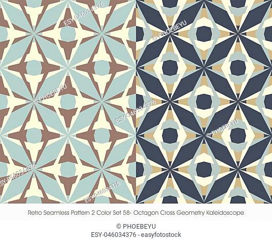 Retro Seamless Pattern Octagon Cross Geometry Kaleidoscope