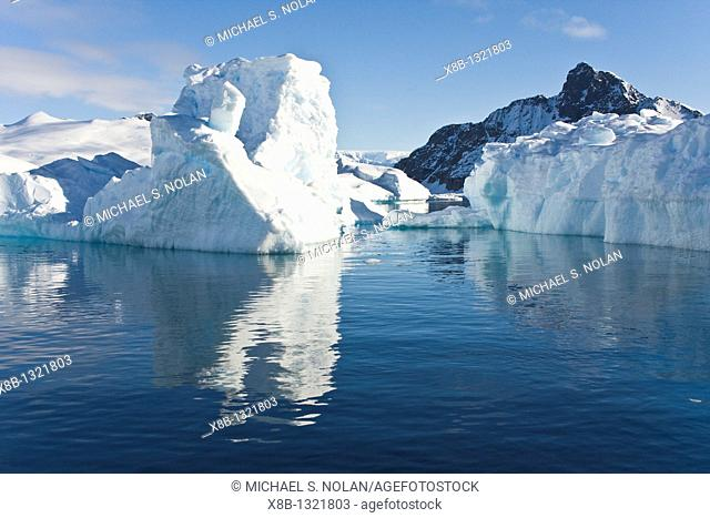 Iceberg detail in and around the Antarctic Peninsula during the summer months  More icebergs are being created as global warming is causing the breakup of major...