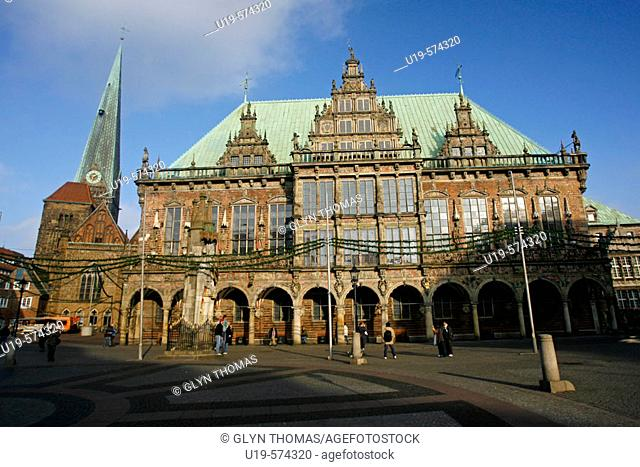 Rathaus facade, Market Square, Bremen, Germany, Europe