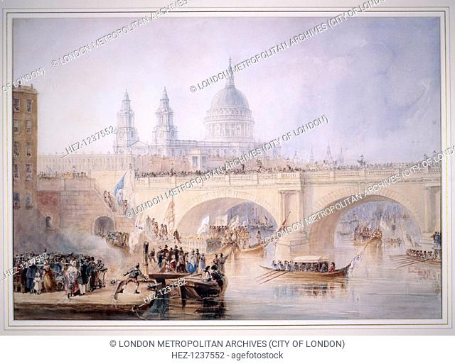 View of the disembarkation of the Lord Mayor at Blackfriars Bridge after the Lord Mayor's procession from the Tower of London to Westminster