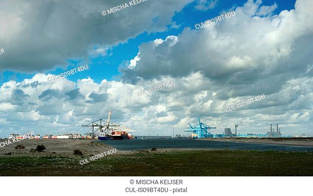 Distant view of container terminal situated on the newest part of Rotterdam harbour, Netherlands