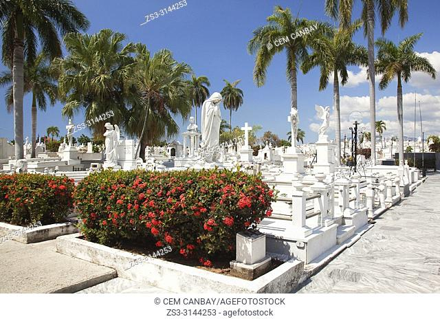 View to the tombs and statues in Sta. Ifigenia Cemetery-Cementerio Sta. Ifigenia at the city center, Santiago de Cuba, Cuba, Central America