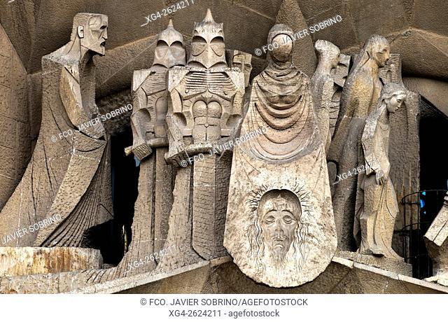 Passion façade, Calvary group. Sagrada Familia, Barcelona, Catalonia, Spain
