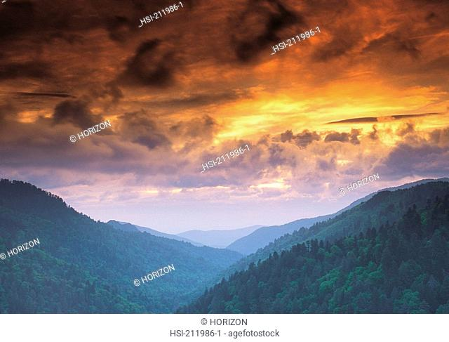 Clouds hovering over Mortons Overlook in the Great Smoky Mountains National Park