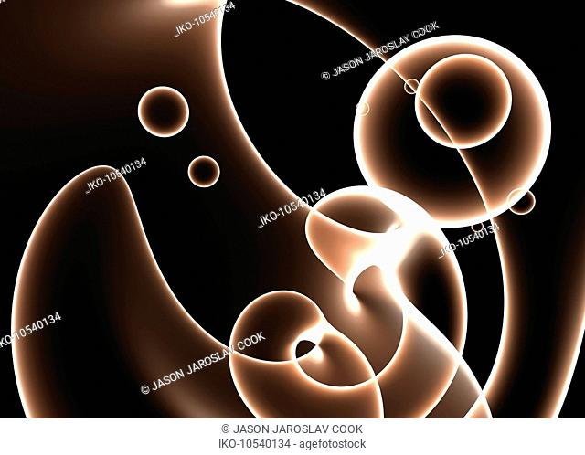 Abstract pattern of brown circles and curves