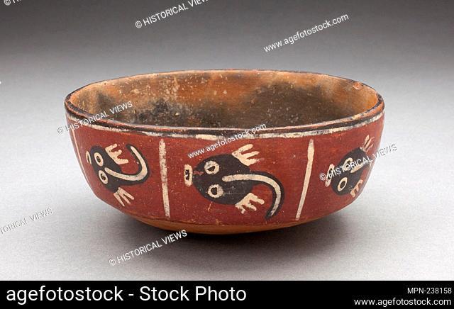 Bowl Depicting Row of Abstract Figures, Possibly Tadpoles - 180 B.C./A.D. 500 - Nazca South coast, Peru - Artist: Nazca, Origin: Nazca Valley