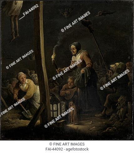 Witches under the gallows by Teniers, David, the Younger (1610-1690)/Oil on wood/Baroque/um 1640-1650/Flanders/Kunsthalle, Karlsruhe/Genre,Mythology