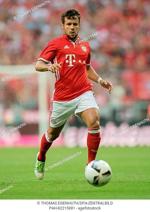 Munich's Juan Bernat in action during an international soccer friendly match between FC Bayern Munich and Manchester City at the Allianz Arena in Munich