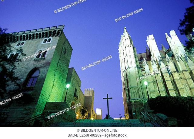 The cathedral La Seu in the capital of Palma de Majorca on the island Majorca in the Mediterranean Sea in Spain