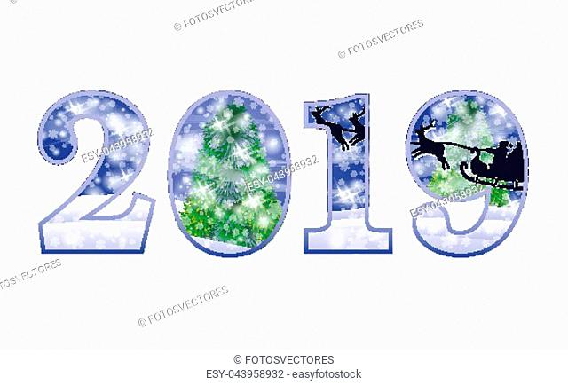 Happy New 2019 Year invitation card, vector illustration