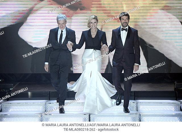 Claudio Baglioni, Michelle Hunziker, Pierfrancesco Favino during 68th Festival of the Italian Song, Sanremo, Italy 08/02/2018