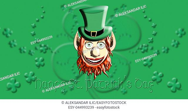 St Patrick's Day. Leprechaun With Green Hat Against Irish Four Leaf Clover Background 3D illustration