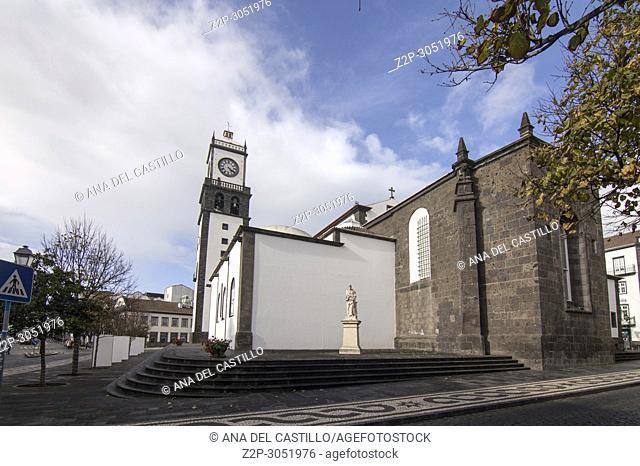 Sao Sebastiao cathedral in Ponta Delgada Sao Miguel island Azores archipielago Portugal