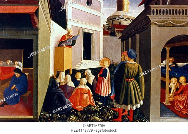 'The Vocation of St Nicholas', 1437. The birth of St Nicholas; St Nicholas preaching; three poor girls whose dowries he paid to save them from prostitution