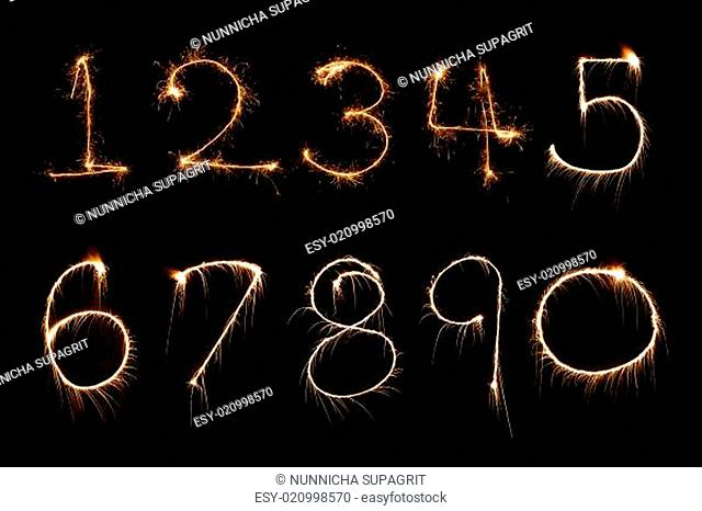 Sparkler firework light Number alphabet