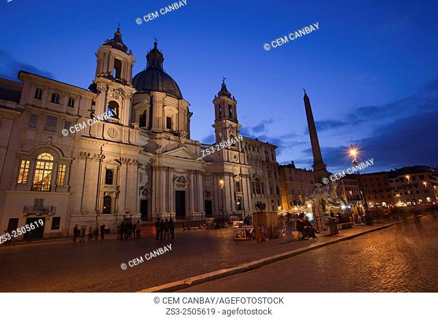 Piazza Navona square at dusk, Rome, Italy, Europe