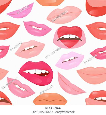 Glamour fashion lips pattern with different lipstick colors. Beautiful shiny female lips collection. Sexy kisses. Romantic smiles. Passion mouths