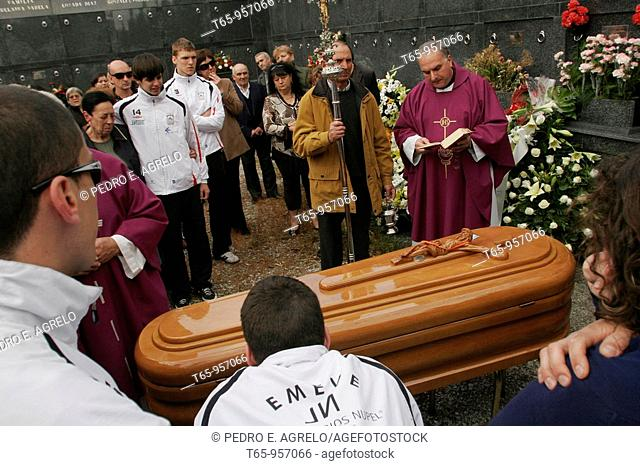 Funeral of a female volleyball player from EMEVE Lugo, dead after traffic accident. Meilan, Province of Lugo, Spain
