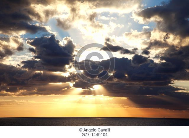 Sunrise over Atlantic Ocean view from Miami Beach, Florida, USA