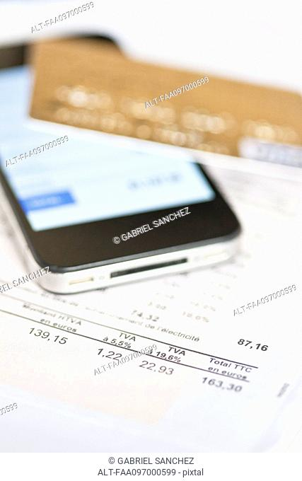 Smartphone being used for online banking