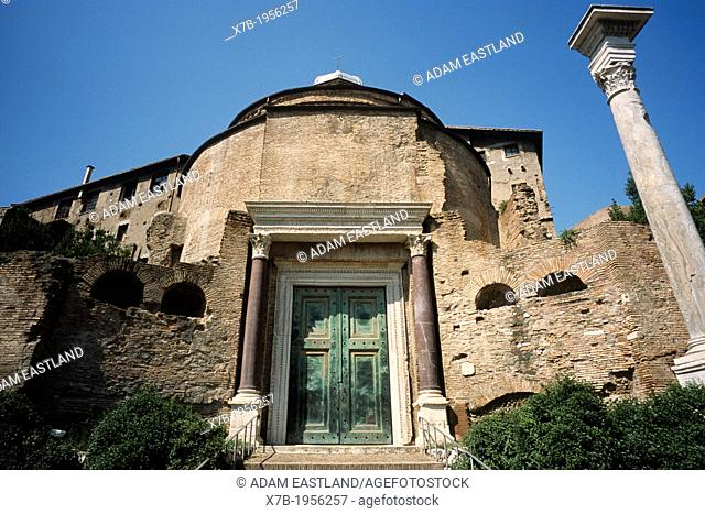 Rome. Italy. Tomb of Romulus incorporated into the Church of Santi Cosma e Damiano in the Roman Forum