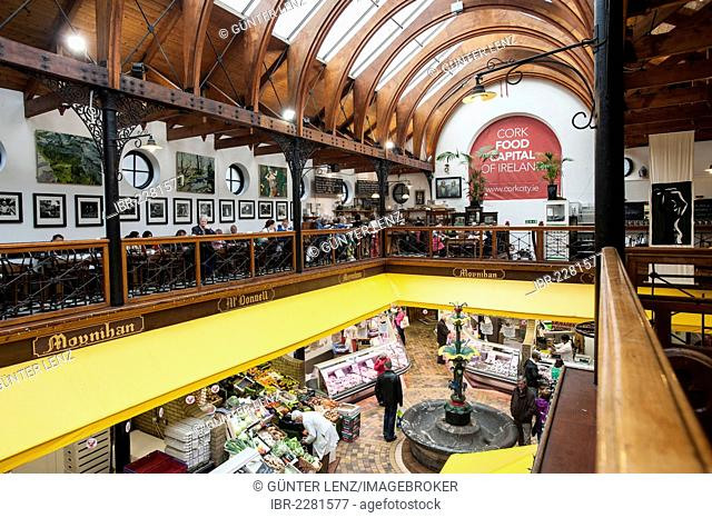 The English Market market hall with a café on the gallery, Cork, County Cork, Ireland, Europe