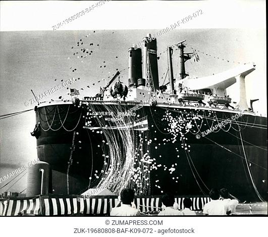 Aug. 08, 1968 - World's Biggest Ship Christened. The world's largest tanker, the 312-ton DWT 'Universe Ireland', was christened on August 15th, by Mrs