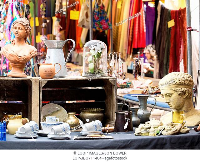 An antique stall in the flea market in Gloucester Green