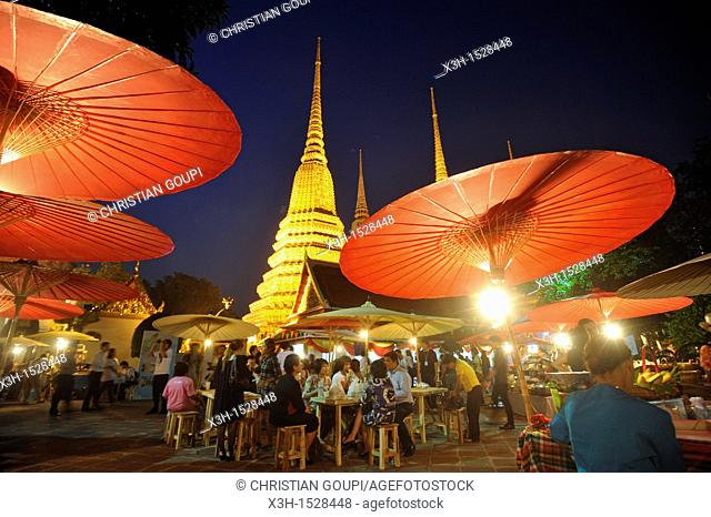 temporary restaurants in Wat Pho monastery during Songkran festival Bangkok, Thailand, Asia