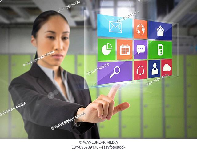 App interface and Businesswoman touching air in front of lockers