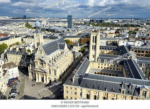 France, Paris, Latin Quarter, Tower of Clovis Lycee Henri IV and Saint Etienne du Mont church
