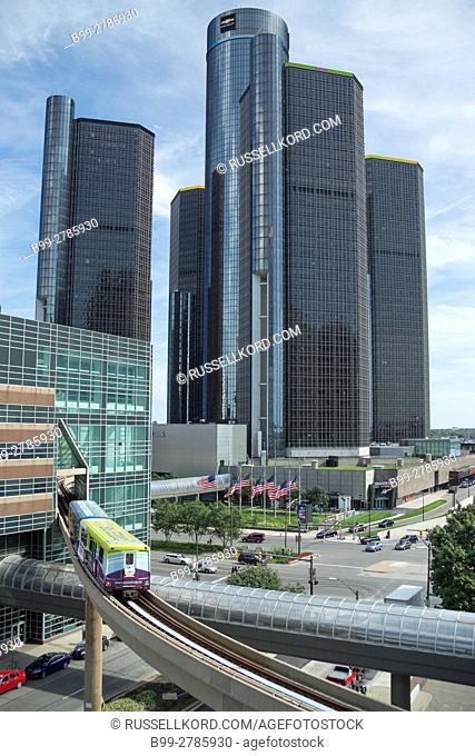 PEOPLE MOVER ELEVATED MONORAIL GM RENAISSANCE CENTER DOWNTOWN DETROIT MICHIGAN USA