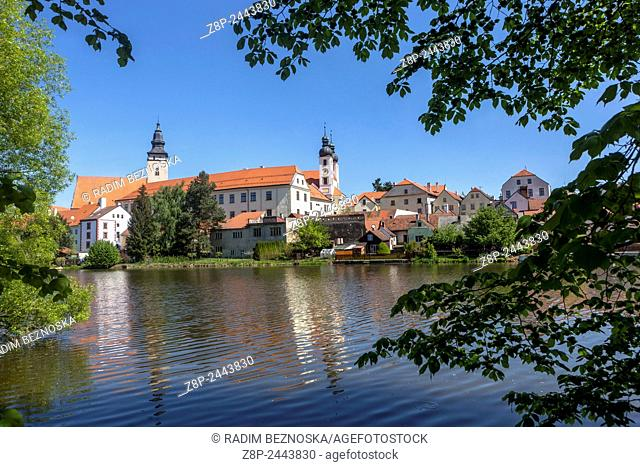 Telc, Czech Republic, UNESCO world heritage town, town view from across Pond reflection